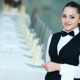 waiter occupation. Female waitress at restaurant catering service.
